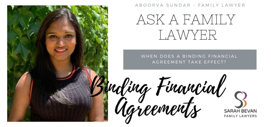 When Binding Financial Agreement - Family Lawyer Sydney
