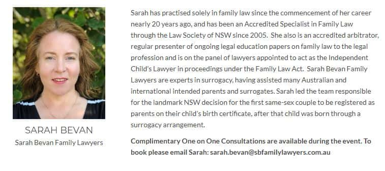 Sarah Bevan Surrogacy Lawyer Sydney Growing Families